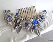 Something Blue Leaf Pearl Rhinestone Bridal Hair Comb,Pearl Rhinestone Hair Comb,Wedding pearl Hair Comb Ivory or White Pearls,ROSELANI