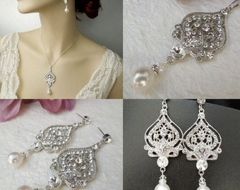 Bridal Wedding Jewelry Set Wedding Earrings,Vintage Style Jewelry Statement,Ivory or White Swarovski Pearl and Crystal Jewelry,Pearl,STELLA