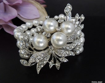 ivory swarovski pearl and crystal Bracelet Statement Bridal Bracelet Bridal Cuff Wedding Rhinestone Bracelet swarovski crystal  JULIE