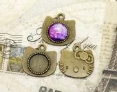 6pcs Antique brass round Cabochon cat Pendant Base (Fit Cabochon 14mm), cat  Pendant findings