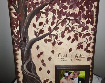 Wedding guestbook thumbprint tree Canvas with picture frame.....150 guests......18 x 24 canvas...Just Gorgeous
