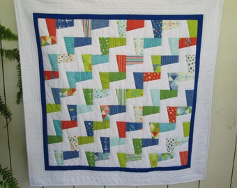 Modern Nautical Baby Quilt, Gender Neutral Baby Quilt, Featuring, Bartholo-meow's Reef Fabric by Tim and Beck, Blankets & Quilts