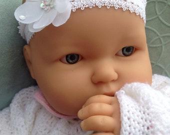 White Baptism Headband with Flower - Lace Hairband - Infant, Baby, Toddler, Child