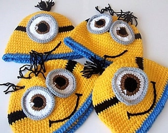 Crochet  Minion Hat-full or half smile-twins-adult-halloween costume- for Baby or Toddler-One Eyed Minion hat-baby halloween outfits