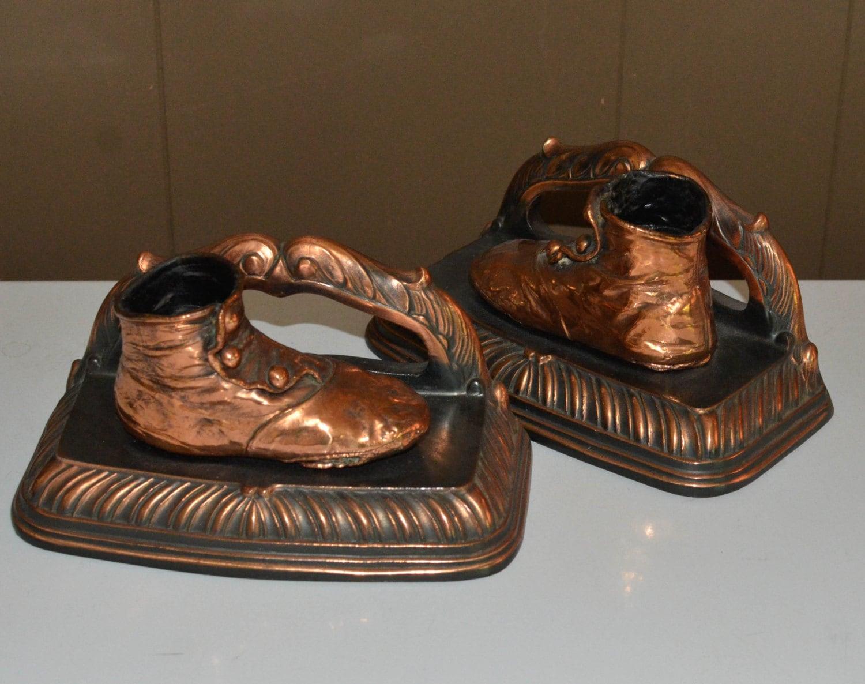 Victorian Baby Shoes Bronze Bronzed Bookends Art Deco