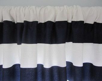 Curtain, Valance, Window Curtain, Navy Blue and White Horizontal Stripe Curtain Valance 50 x 18