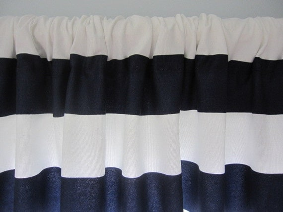 Curtain Valance Window Curtain Navy Blue And By Cottagehomecouture