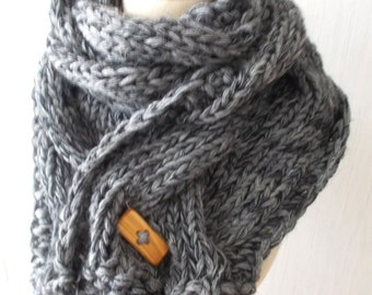 Chunky Scarf Handknit Big Cowl Extra Thick Cabled Soft  in Grey Tones