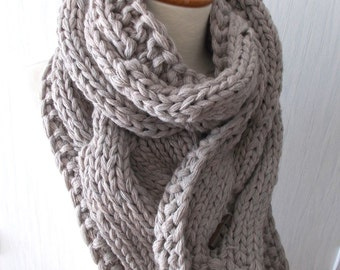 Chunky Scarf Handknit Big Cowl Extra Thick Cabled Soft  in Light Brown