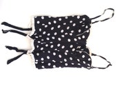 French VTG polka dots black/ white SILK corset / bustier Paris