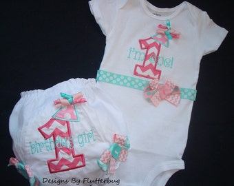 1ST BIRTHDAY Bodysuit and Bloomer Set -Smash Cake Outfit- Appliqued Number with Small Party Hat Designs in Chevron Pink and Aqua