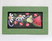 Summer Time Flowers and Fruit, Framed in Greens, Tole Painted on Black Screen, Pink and White Flowers, Pear, Watermelon, Hand Crafted