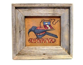 Black Crow holding Orange Pumpkin with American Flag,  Sitting on Indian Corn, Tole Painted, Rustic Reclaimed Barn Wood Frame,Autumn or Fall