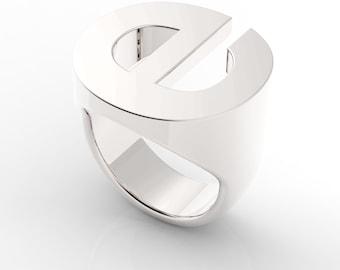 Custom Helvetica Letter Monogram Signet Ring  935 Silver