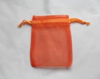 75 Orange Organza Bags / favor bags 5 x 7 inch Great for handmade soaps, herbs, tea, jewelry etc.