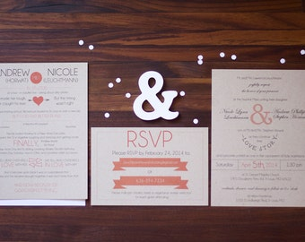 Couples Love Story Wedding Invitation Suite, Infographic Words and Pictures Couples Love Story Wedding Invite, Coral and Kraft Paper