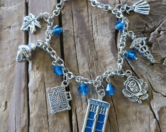 Doctor Who and Friends Inspired Silver Charm and Crystal Bracelet