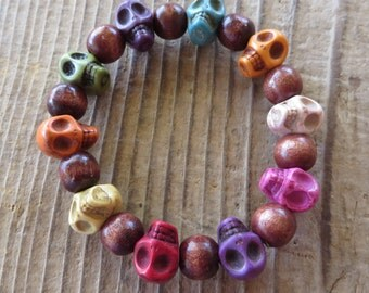 Multi Colored Howlite Turquoise Skull and Wood Stretch Bracelet