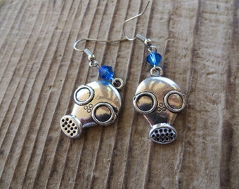 Empty Child Doctor Who Inspired Silver Gas Mask Earrings with Blue Crystals