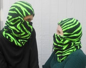 Bright Green Zebra Print Adult Fleece Balaclava Hat Ski Mask For Women, Men, Or Teen Fun Gift