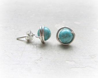 Sterling Wire Wrapped, Turquoise Stud Earrings,Southwestern Post Earrings, Hypoallergenic Southwestern Jewelry, Turquoise Posts,Wire Wrapped