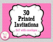 30 PRINTED INVITATIONS - 5x7 Invitations with Envelopes , SHIPS within 1-2 Days by The Trendy Butterfly