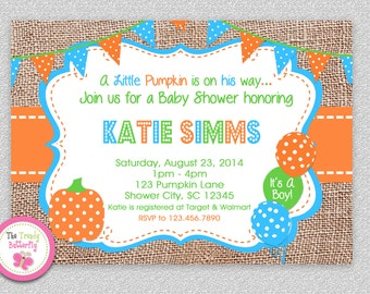 Fall Baby Shower Invitation, Fall Pumpkin Baby Shower, Baby Shower Invitation, Blue and Orange