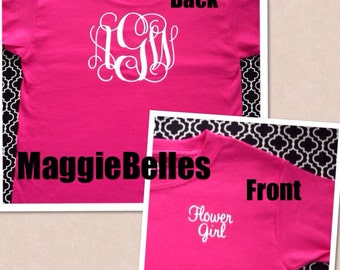 Personalized Flower Girl Monogram T shirt Toddler Kids wedding Preppy Hot pink Front and back dual vine