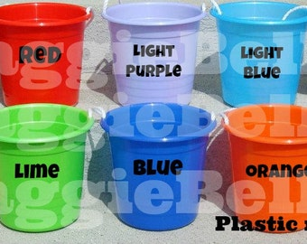 BLANK plastic rope pail bucket with rope handle trick or treat party gift favor basket bag organization storage DIY vinyl