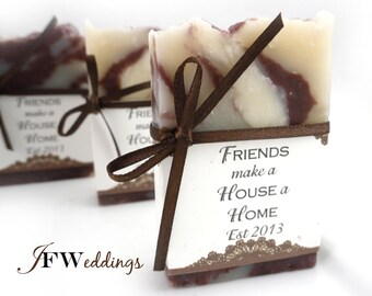 10 Vegan SOAP Favors ~ Home Warming ~ Scented in Lemon Sage with Lace Labels or Your Own Custom Designs ~ Handmade in 7 days