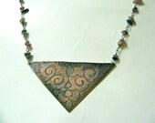 Etched Copper Triangle Fleur De Lis Necklace Floral Swirl Bohemian Hippie Statement Tourmaline Necklace