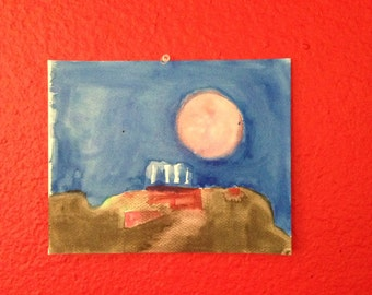 Pink Moon Landscape Painting,  Watercolor 8 x 10