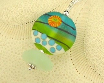 Eco Friendly Jewelry GENUINE Sea Glass Necklace Spring Flower SRA Lampwork Bead