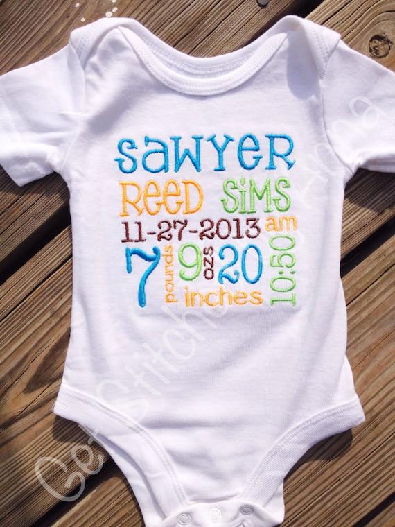 Items similar to Birth Announcement Subway Art baby onesie ...