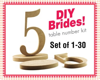 DIY Wooden Table Numbers - 1-30 Do It Yourself Kit Wedding Table Numbers Wedding Wood Numbers Wedding Table Numbers (Item - DIY130)