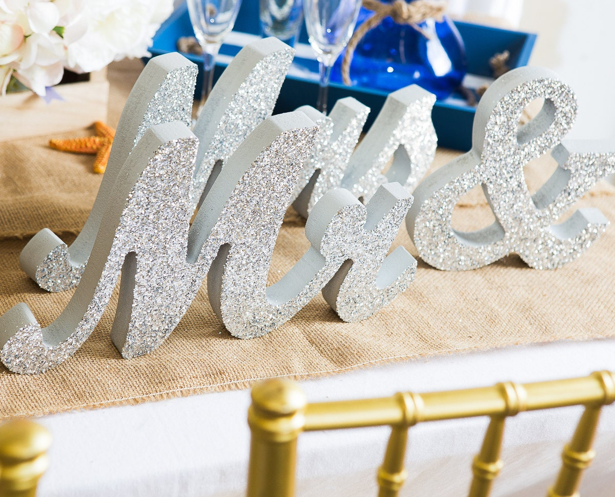 Mr And Mrs Wedding Signs Mr & Mrs Wooden Letters By