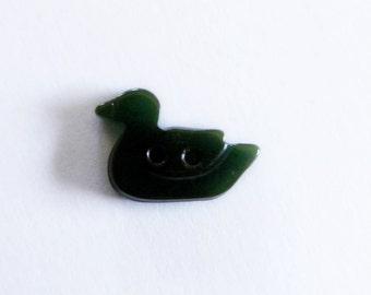 Green Bakelite Duck Button Realistic