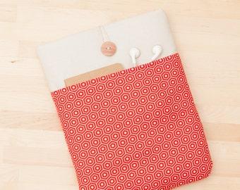 iPad case, iPad Pro sleeve, iPad cover, padded  - red hexagons with pockets -