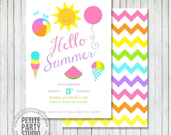 Hello Summer Printable Party Invitation - Birthday or Baby Shower - Petite Party Studio