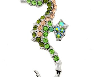 Multicolor Seahorse Crystal Pin Brooch And Pendant(Chain Not Included) 1001244