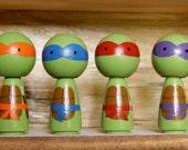 Teenage Mutant Ninja Turtle Kokeshi Peg Set