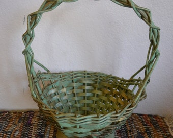 Vintage Woven Basket For Flowers Shabby Chic