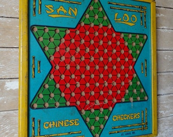 Vintage Retro Chinese Checker Board Rare Made In The USA
