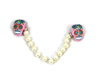 Retro Sweater Clip Pink Sugar Skull with White Pearls, Rockabilly, Pinup, Day of the Dead, Creepy Cute, Sweater Guard, Carigan clip