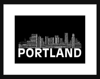 Portland Oregon Skyline Word Art Typography Typographical Print Poster