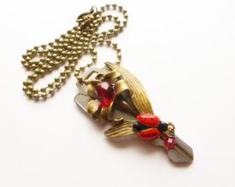 Key Necklace / Key Pendant / Lady Bug Necklace / Repurposed Key Jewelry / Key Jewellery / Red Lady Bug