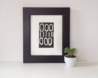 Minimal Hand Pulled Linocut Black Mid Century Modern Decor art poster 8 x 10