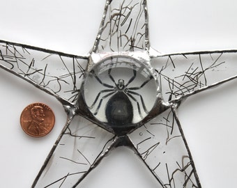 8 inch Spider Star- textured stained glass with spider glass cabochon
