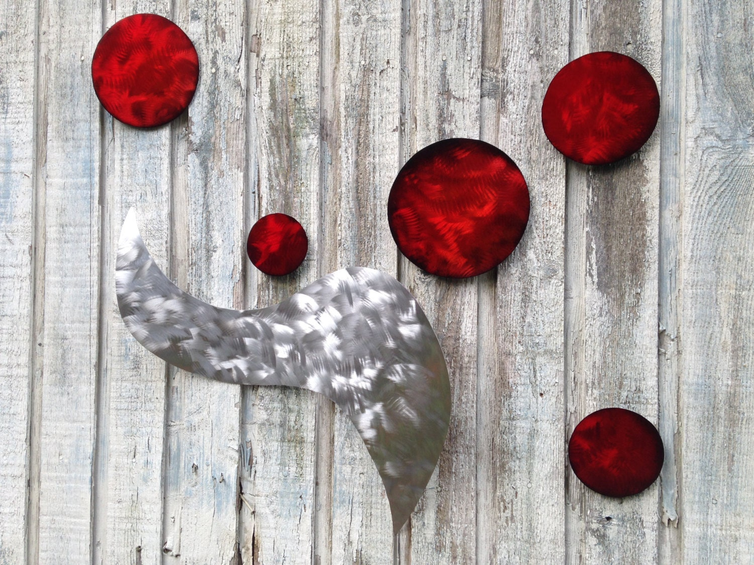 Red Metal Wall Decor: Red And Silver Abstract Metal Wall Art Modern Sculpture Home
