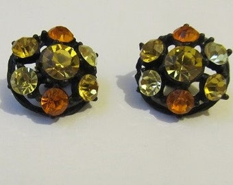 60's Mad Men Clip-on Earrings Orange and Yellow Rhinestone Dazzlers